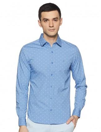 UCB sky blue casual wear printed shirt