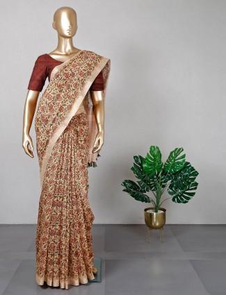Cream cotton silk printed festive wear sari