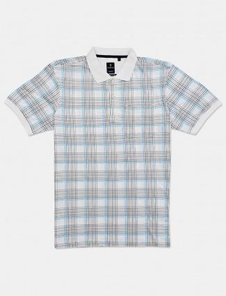Van Heusen checks casual white t-shirt