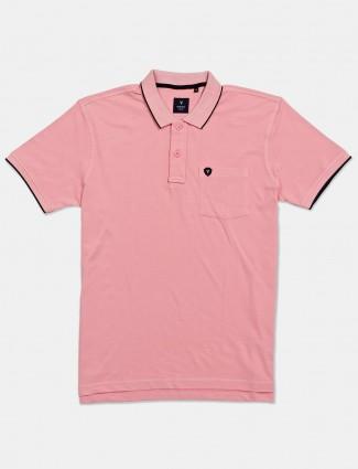 Van Heusen half sleeves solid light pink t-shirt