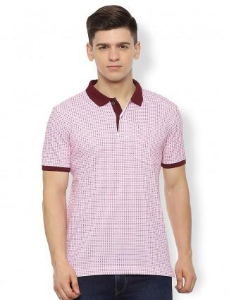 Van Heusen pink printed casual wear t-shirt