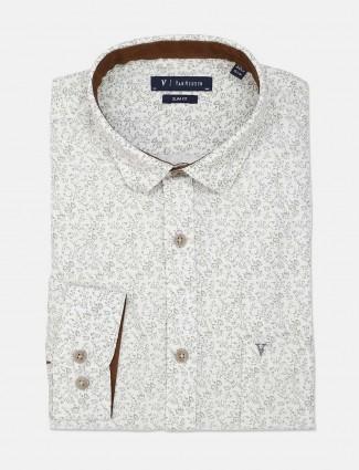 Van Heusen printed cotton white formal shirt