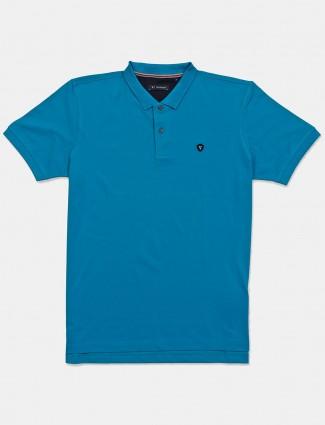 Van Heusen solid blue cotton t-shirt