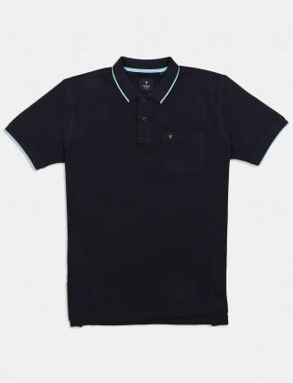 Van Heusen solid polo black t-shirt