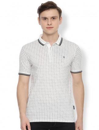Van Heusen white printed casual t-shirt