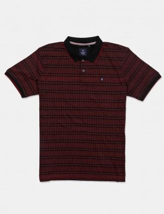 Van Heusen wine maroon printed t-shirt