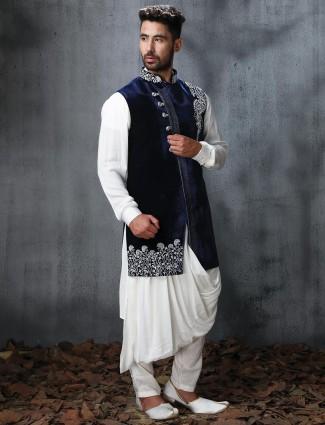 Velvet and silk fabric designer indo western