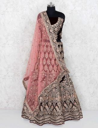Velvet fabric semi stitched maroon color bridal lehenga choli