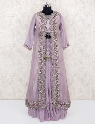 Violet color cotton silk jacket style lehenga cum suit
