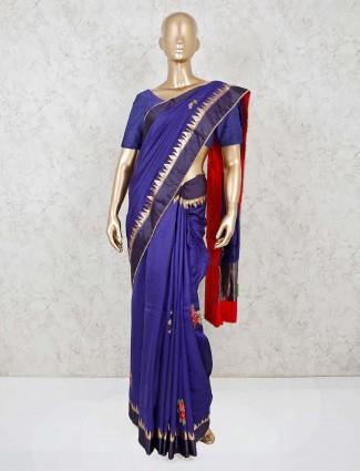 Violet designer satin silk saree for wedding function