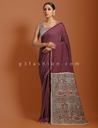 Violet festive wear kalamkari saree in bandhej