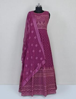 Violet georgette anarkali salwar suit for wedding