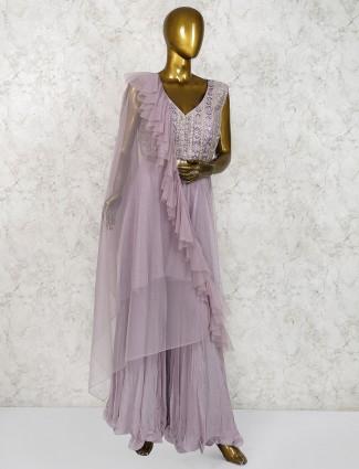 Violet hue net designer palazzo suit