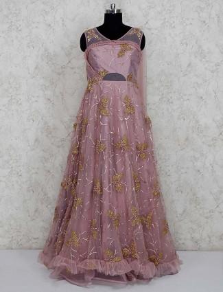 Violet net fabric designer gown