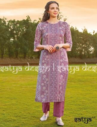 Violet printed cotton kurti