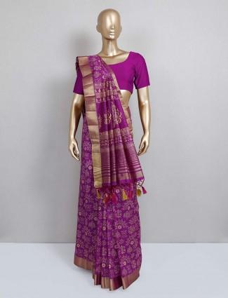 Violet printed cotton silk festive saree design