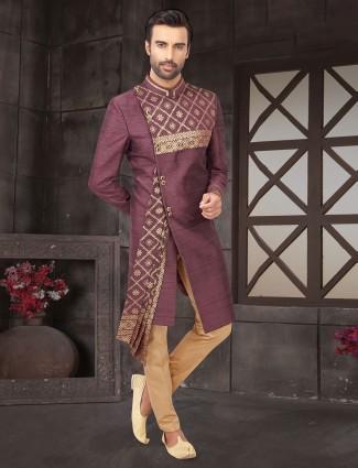 Violet raw silk indo western for men