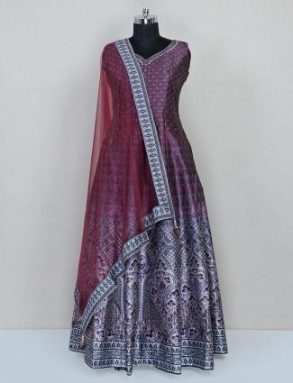 Violet raw silk printed wedding anarkali salwar suit