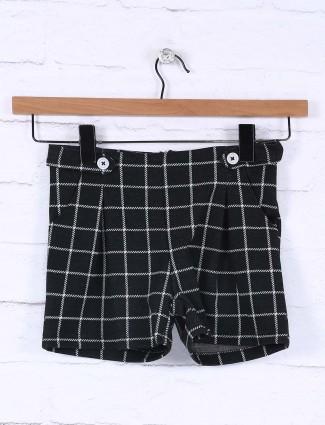维生素黑色纯棉格纹休闲牛仔裤