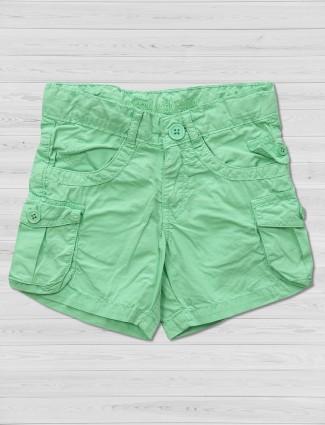 维生素浅绿色棉质短裤
