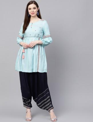 W aqua hue cotton kurti set
