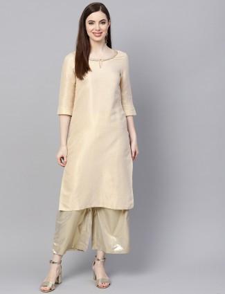 W beige color festive brocade kurti