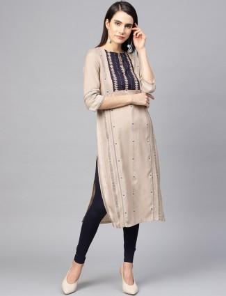 W beige hue classic cotton kurti