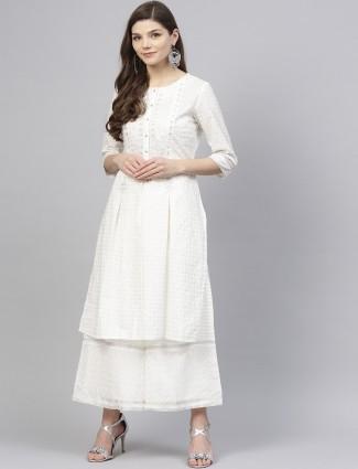 W casual wear white color cotton kurti