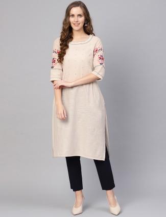 W cotton fabric beige hue kurti