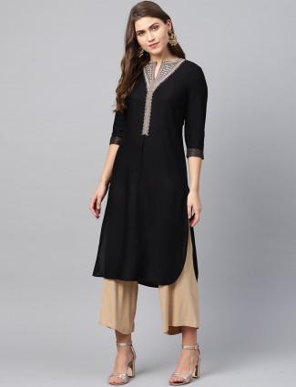 W cotton fabric black hue quarter sleeves kurti