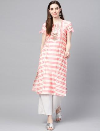 W cream color stripe casual wear kurti