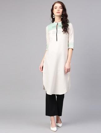 W cream hue cotton casual kurti