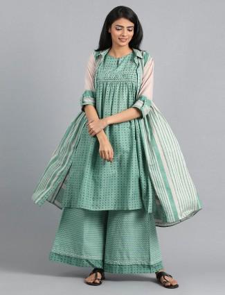W green color kurti set in cotton fabric