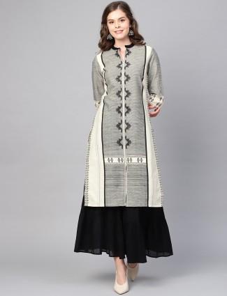 W grey color classic kurti in cotton fabric