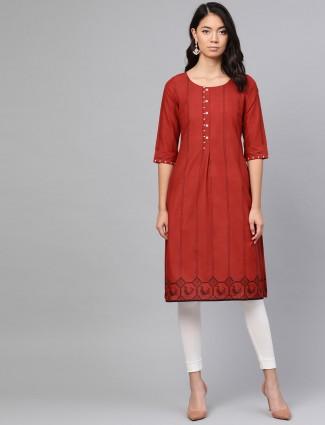 W maroon stripe half buttoned placket kurti