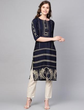 W navy blue festive round neck kurti