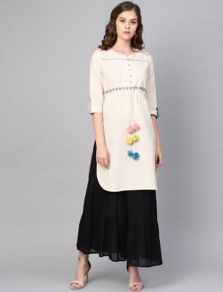 W off white cotton casual quarter sleeves kurti