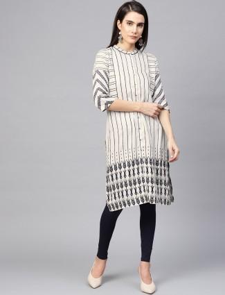 W off white stripe pattern cotton kurti
