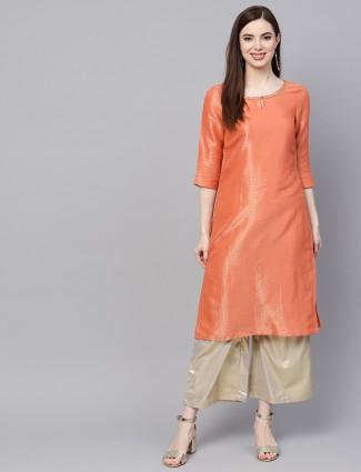W orange color festive wear pretty kurti