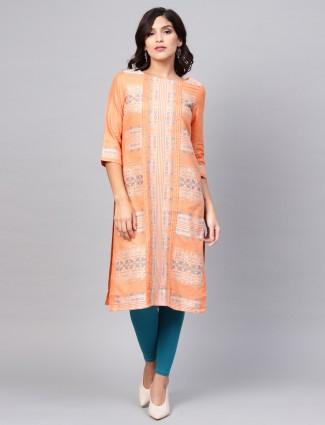 W orange hue printed cotton kurti