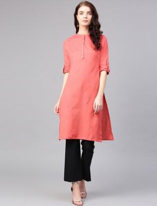 W peach hue cotton plain kurti for casual occasion