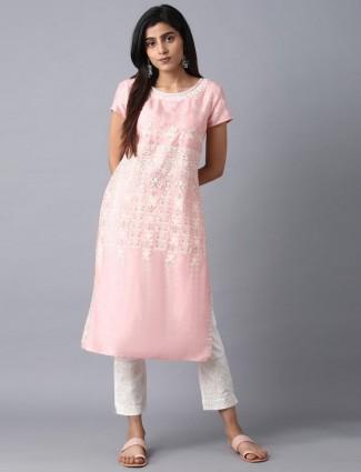 W pink cotton fabric kurti