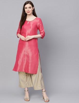 W pink hue brocade festive wear kurti