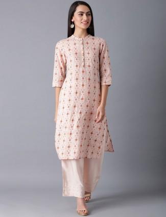 W pink printed cotton kurti