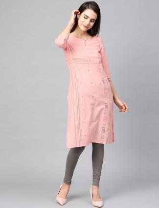 W pretty pink quarter sleeves pattern cotton kurti