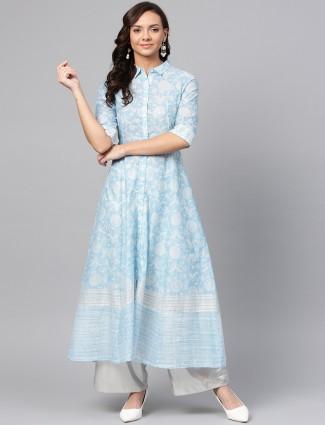 W printed blue color cotton casual kurti
