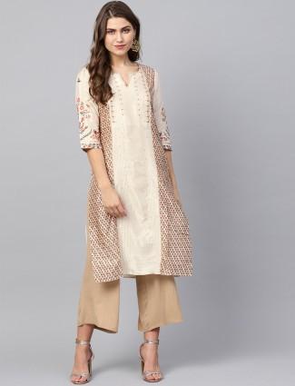 W printed cream color silk fabric kurti