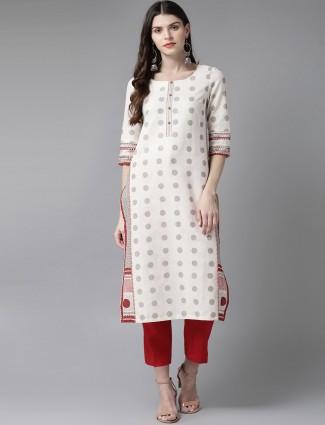 W printed cream cotton kurti