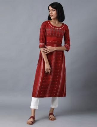 W printed maroon cotton kurti