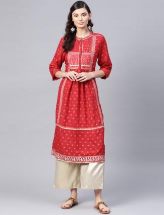 W printed red hue cotton fabric kurti